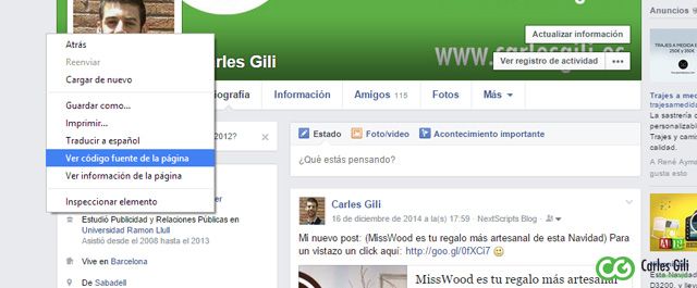 Foto de la pagina oficial de facebook de Carles gili